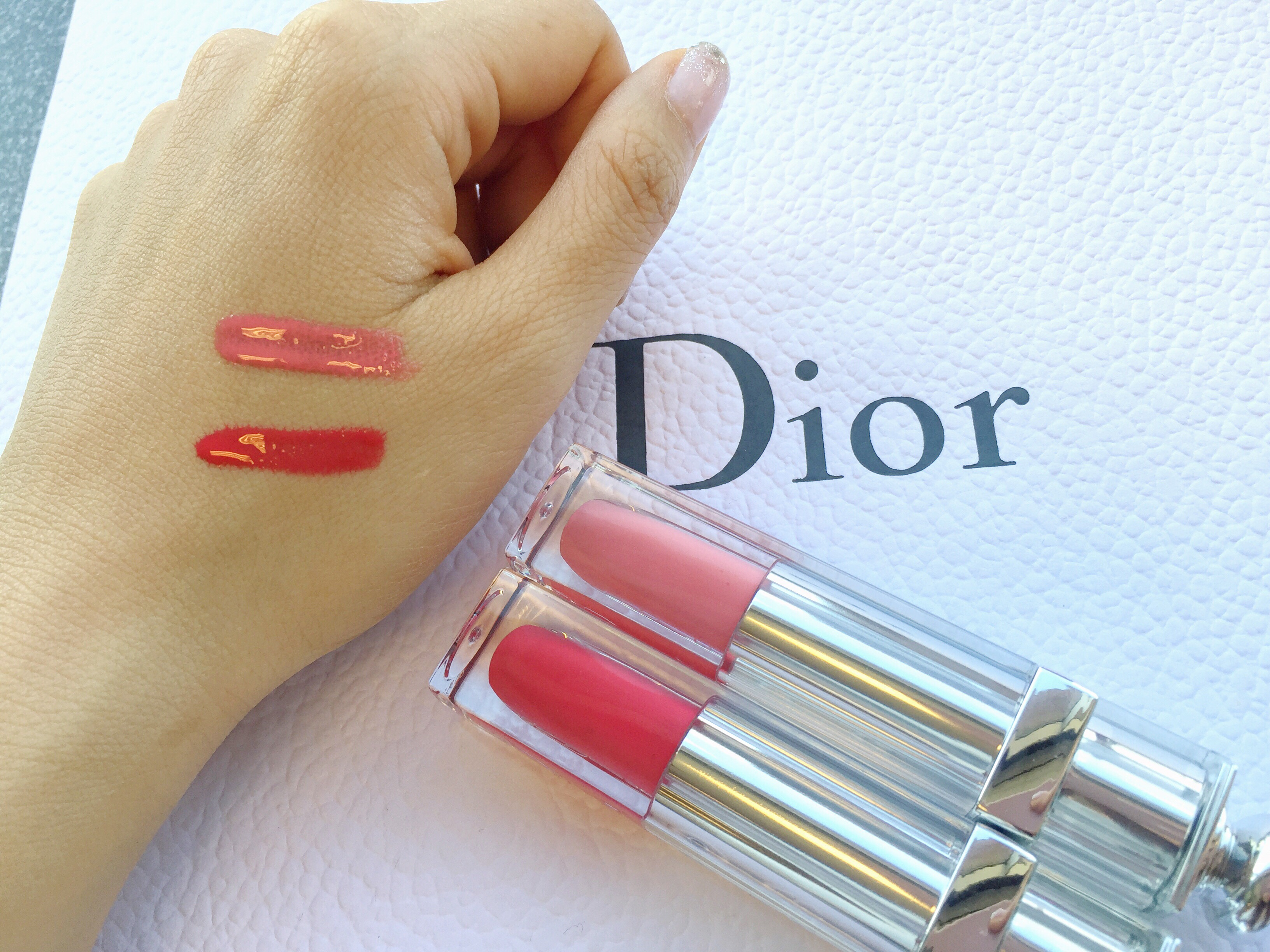 dior addict fluid sticks wonderland tiny pink swatches