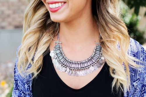 silver statement necklace with coins