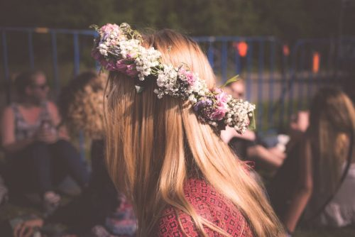 flower crown brunette