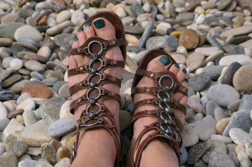 sandals and pebbles