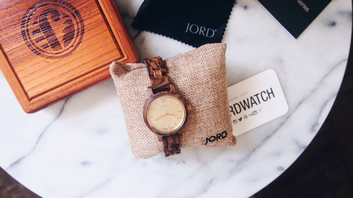 wood watch flat lay
