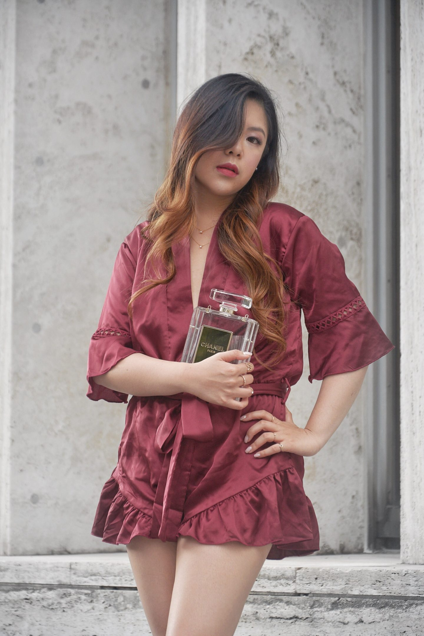 red satin silk pj robe sultry