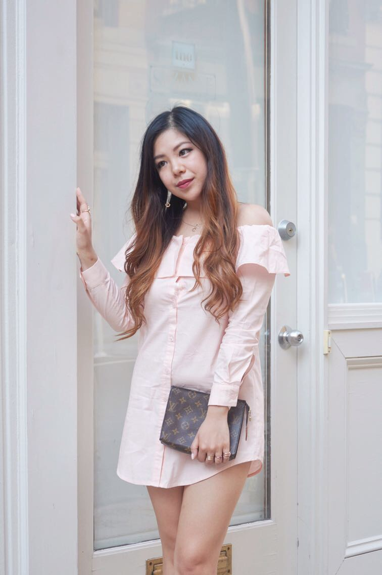 fashion union asos petite blush shirt dress