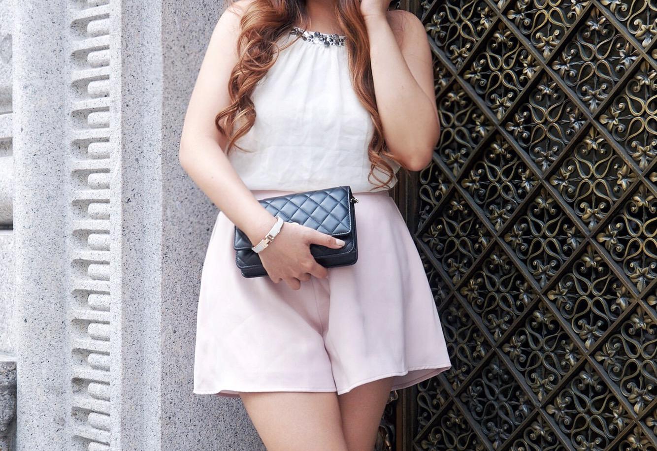 embellished halter collar rhinestones hermes bracelet blush white