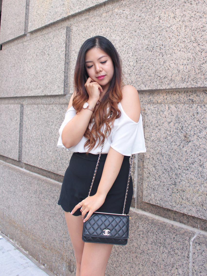 scallop shorts cold shoulder top chanel bag fashion