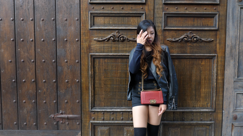 fashion blogger leather jacket thigh high socks red chanel le boy