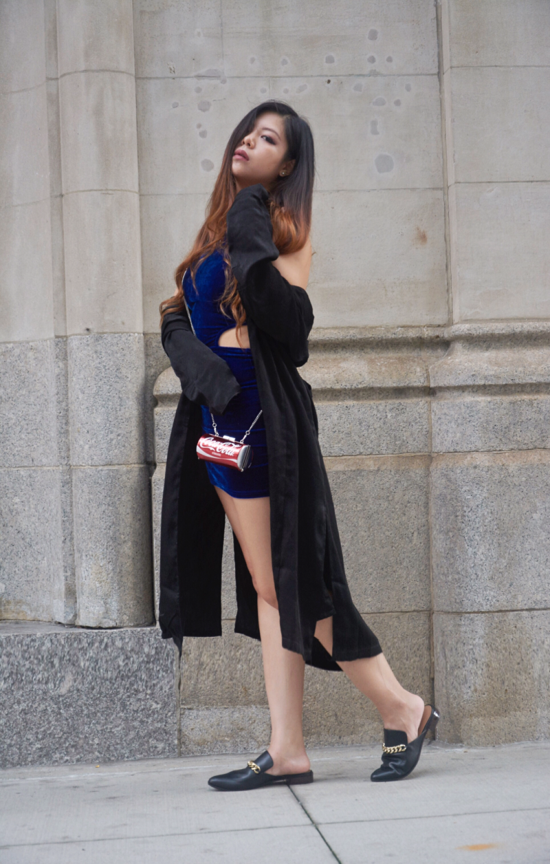 blue velvet dress coca-cola bag black trench slip on mules