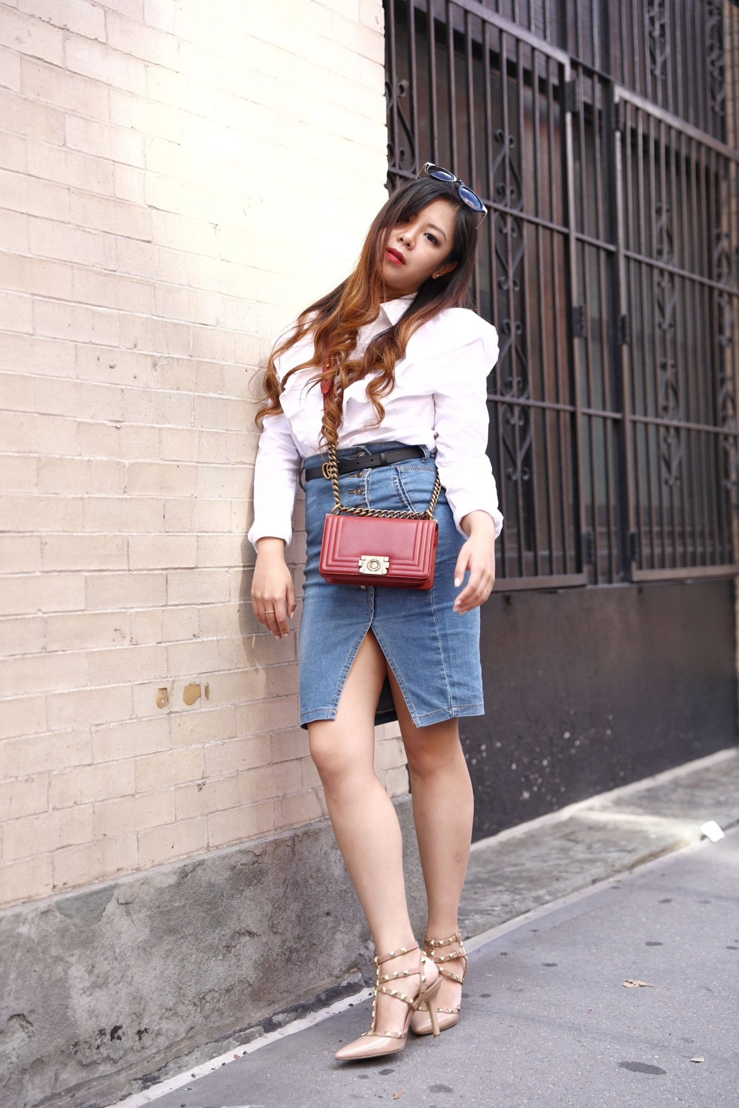 white ruffle shirt high waist denim skirt red chanel le boy
