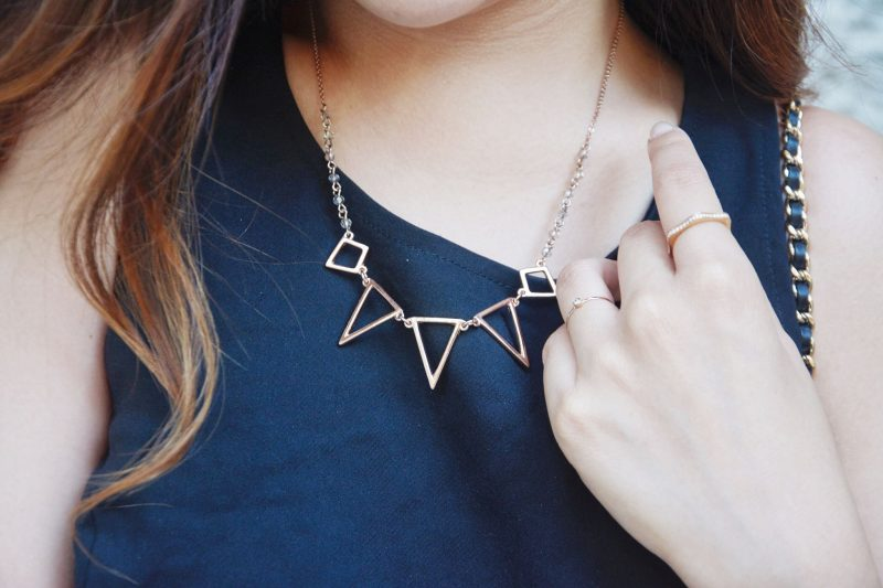 details gold geometry necklace mont blanc ring
