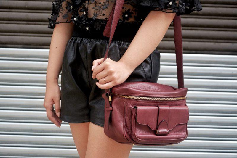 derek lam newton camera bag leather shorts mesh top