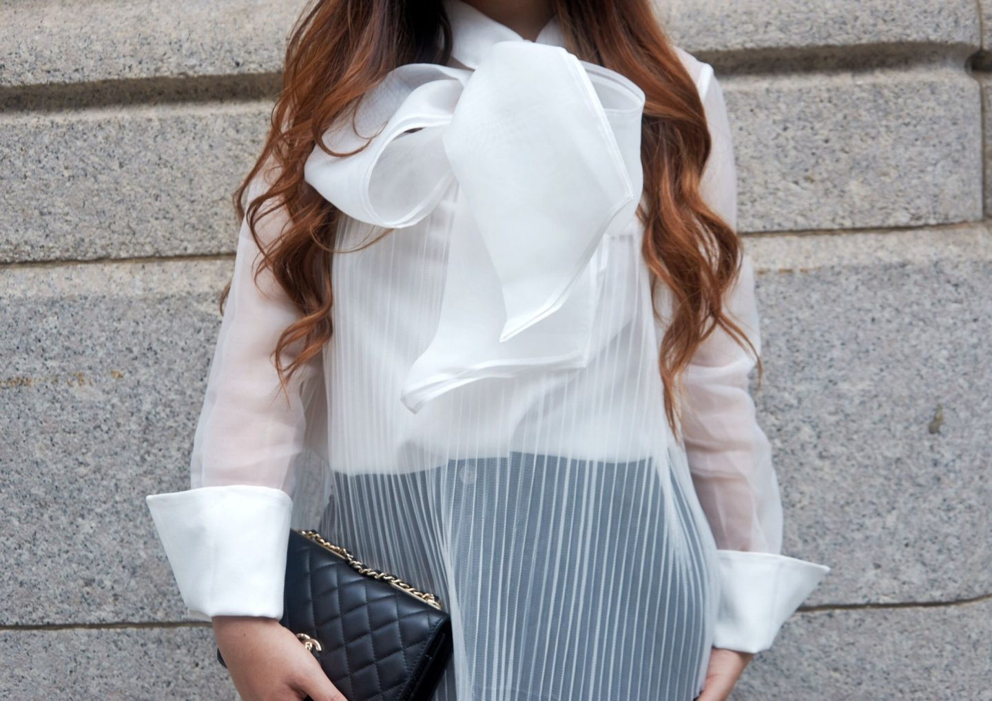 white pleated large bow shirt chanel woc