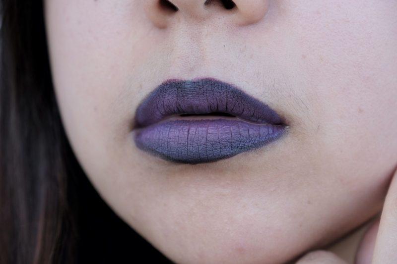 matte gradient lips black purple halloween