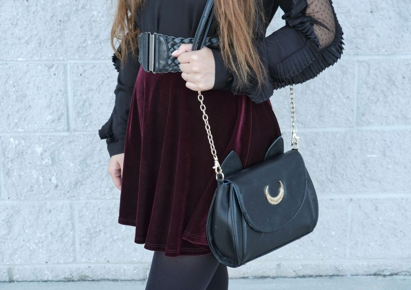 burgundy velvet skirt wide waist belt samantha vega x sailor moon luna bag