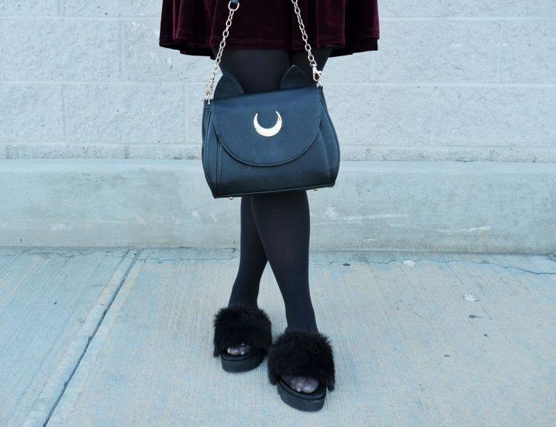 samantha vega x sailor moon luna bag fuzzy slippers