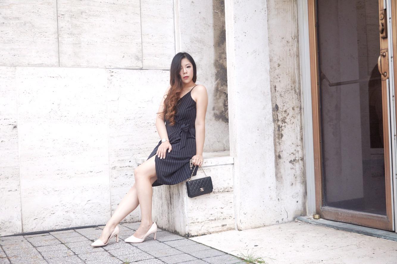 chanel bag little black dress