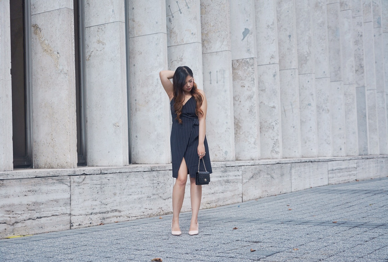 blogger babe twofeather wrap dress