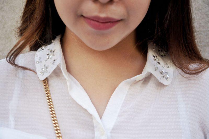 embellished collar rhinestone shirt