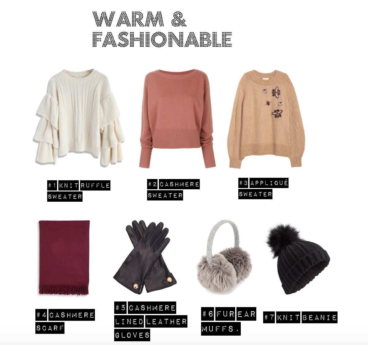 warm and fashionable christmas gift list