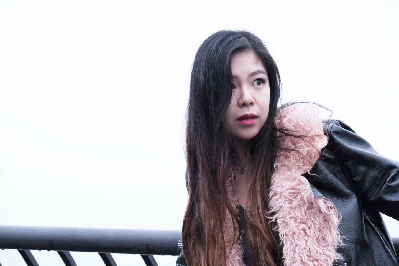 petite blogger pink fur moto