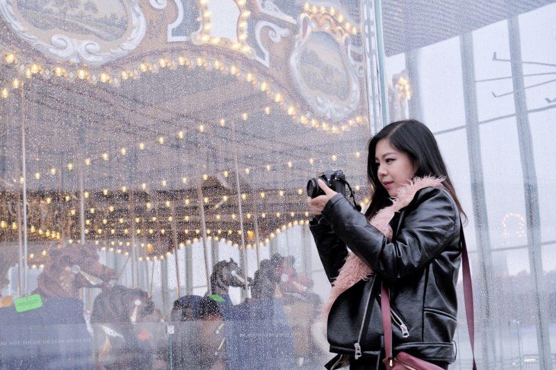pink fur moto jacket photographer blogger nyc