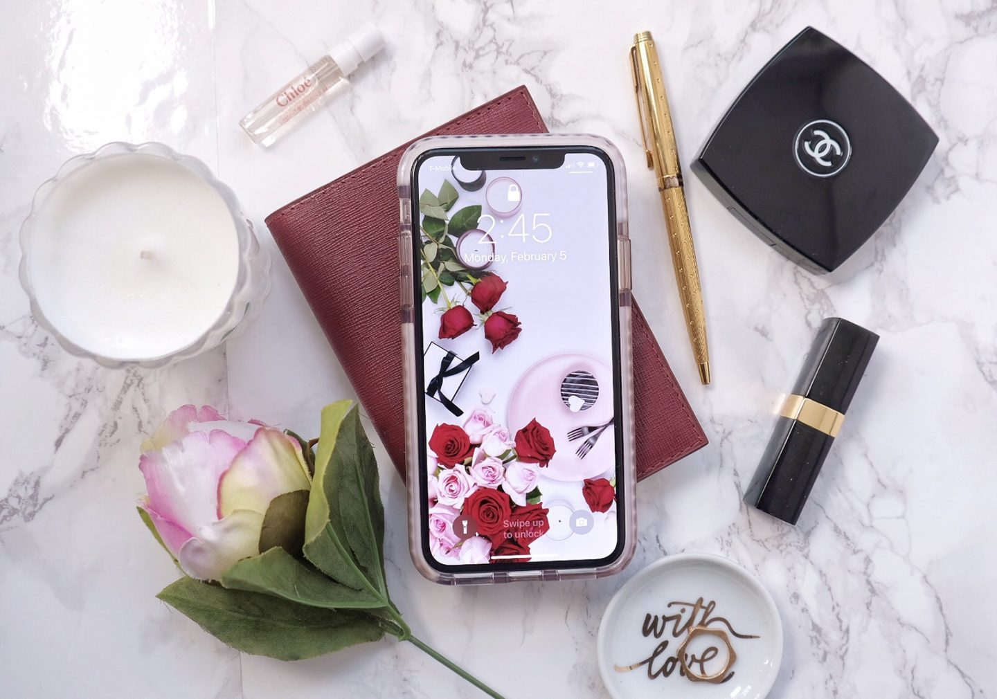 iphone x blogger flatlay