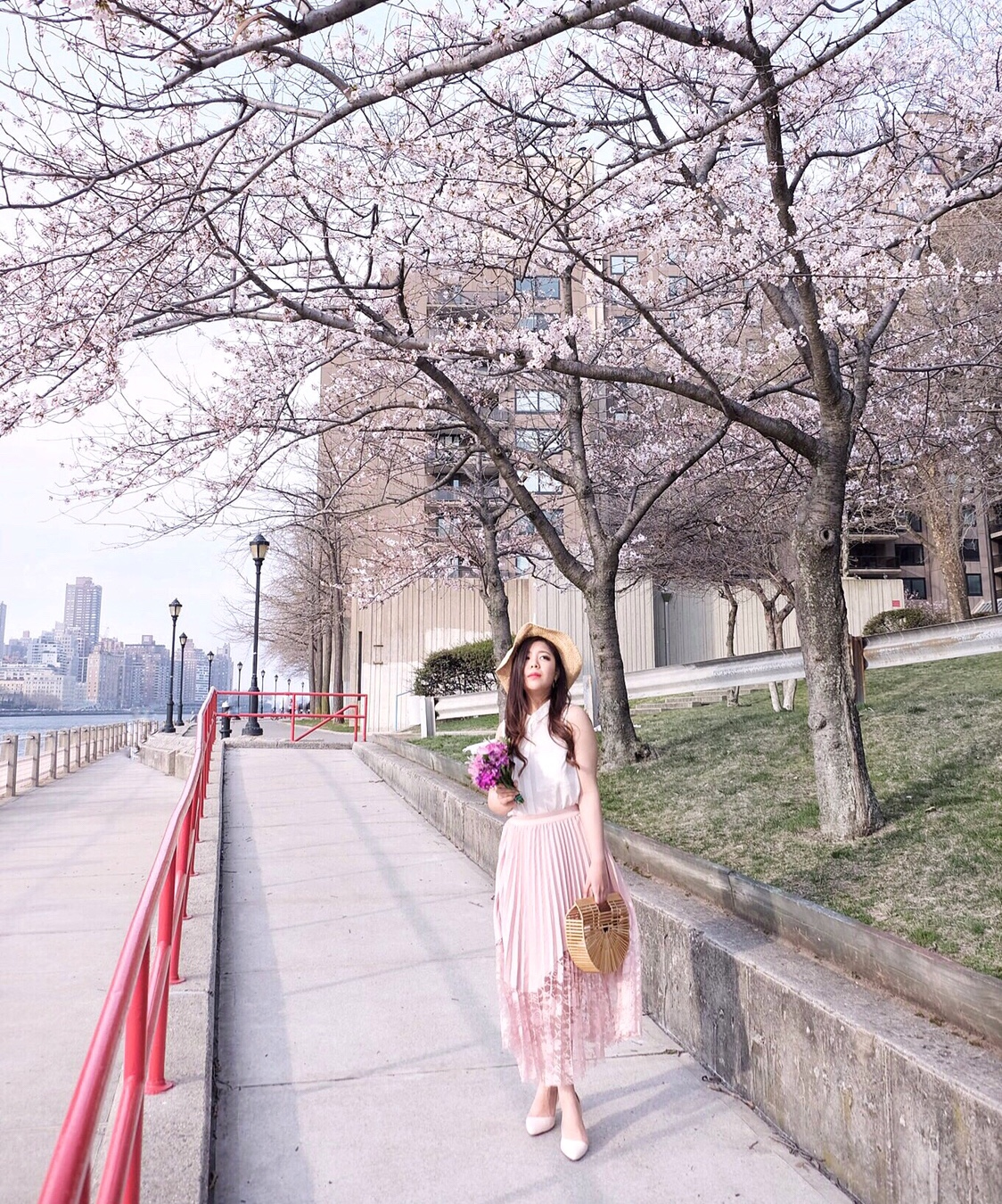 cherry blossoms roosevelt island blogger blush ootd