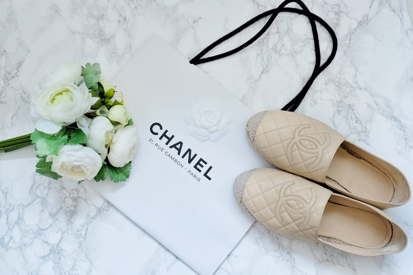 chanel nude quilted espadrilles